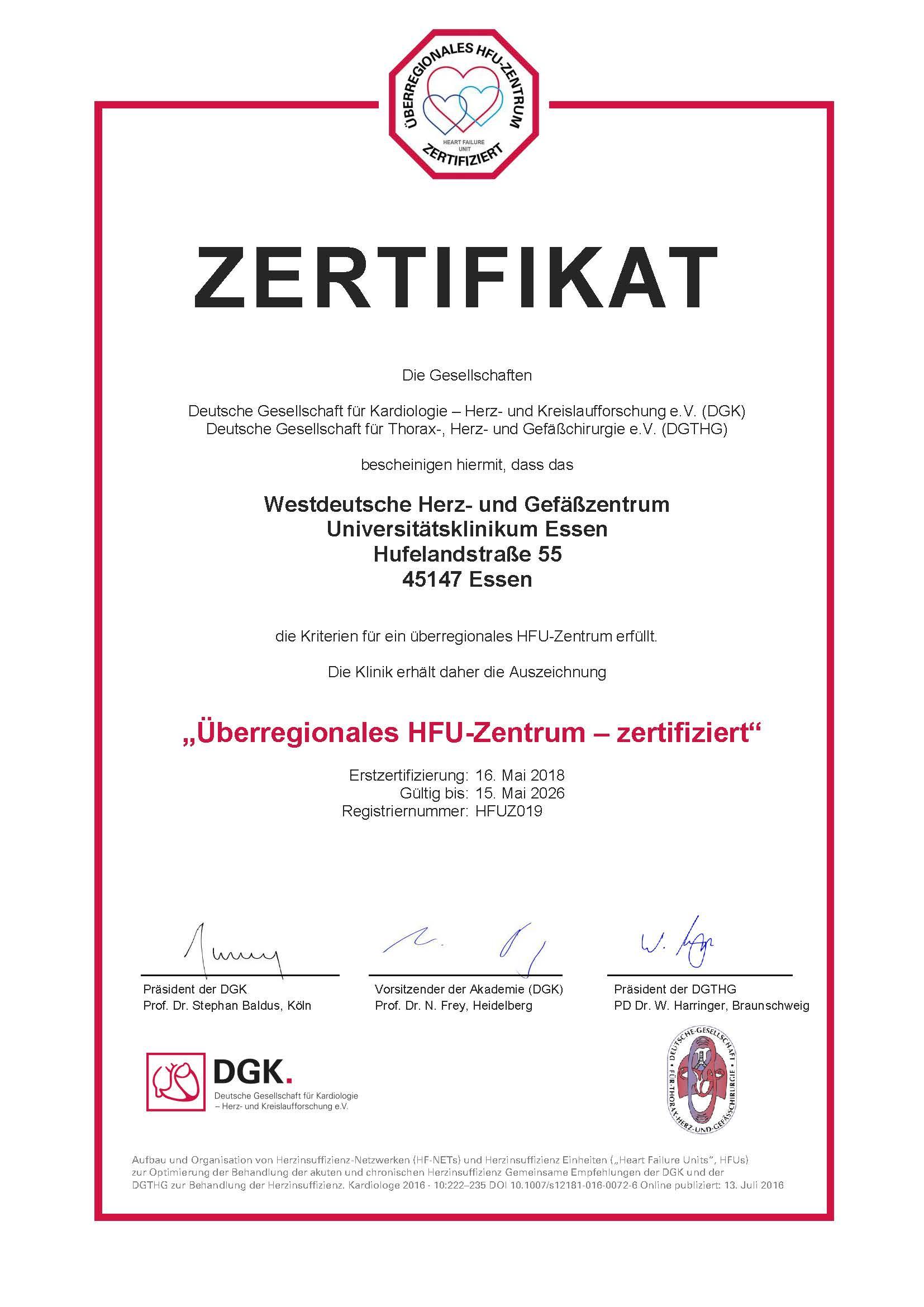 Re-Zertifizierung eines Überregionalen HFU-Zentrums